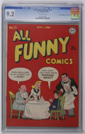 """Golden Age (1938-1955):Humor, All Funny Comics #11 Davis Crippen (""""D"""" Copy) pedigree (DC, 1946) CGC NM- 9.2 Off-white pages. Highest CGC grade for this is..."""