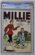 """Golden Age (1938-1955):Romance, Millie the Model #16 Davis Crippen (""""D"""" Copy) pedigree (Marvel,1949) CGC VF+ 8.5 Off-white to white pages. Features """"Hey Lo..."""