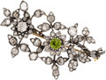 Estate Jewelry:Brooches - Pins, Antique Diamond, Green Zircon, Silver-Topped Gold Brooch. ...