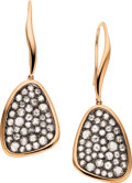 Estate Jewelry:Earrings, Diamond, Pink Gold Earrings. ...