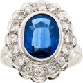 Art Glass:Daum, Sapphire, Diamond, White Gold Ring. ...