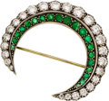 Estate Jewelry:Brooches - Pins, Diamond, Emerald, Silver-Topped Gold Brooch . ...