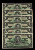 Canadian Currency: , BC-21c $1 1937 Six Examples. ... (Total: 6 notes)