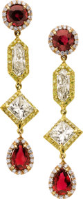 Estate Jewelry:Earrings, Diamond, Colored Diamond, Ruby, Gold Earrings. ...