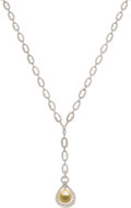 Estate Jewelry:Necklaces, Diamond, Golden South Sea Cultured Pearl, White Gold Necklace . ...