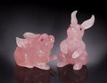 Lapidary Art:Carvings, PAIR OF ROSE QUARTZ BUNNIES. ...