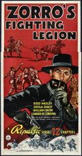 "Movie Posters:Serial, Zorro's Fighting Legion (Republic, 1939). Three Sheet (41"" X 81"").Serial.. ..."