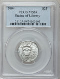 Modern Bullion Coins, 2004 P$25 Quarter-Ounce Platinum Eagle MS69 PCGS. PCGS Population(8442/210). NGC Census: (4511/2449). Numismedia Wsl. Pri...