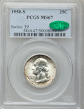 Washington Quarters: , 1950-S 25C MS67 PCGS. CAC. PCGS Population (53/0). NGC Census:(202/2). Mintage: 10,284,004. Numismedia Wsl. Price for prob...
