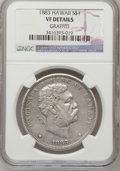 Coins of Hawaii, 1883 $1 Hawaii Dollar--Graffiti--NGC Details. VF. NGC Census:(2/310). PCGS Population (1/600). Mintage: 500,000. (#10995)...