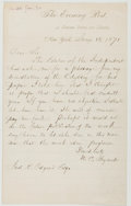 Books:Americana & American History, William Cullen Bryant (1794-1878, American Poet, Journalist, Editorof the New York Evening Post). Autograph Letter Signed. ...