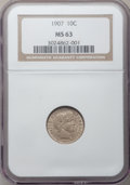 Barber Dimes: , 1907 10C MS63 NGC. NGC Census: (88/176). PCGS Population (112/160). Mintage: 22,220,576. Numismedia Wsl. Price for problem ...