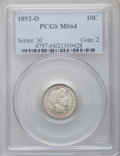 Barber Dimes: , 1892-O 10C MS64 PCGS. PCGS Population (55/23). NGC Census: (62/21).Mintage: 3,841,700. Numismedia Wsl. Price for problem f...