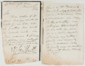Books:Literature Pre-1900, George Cruikshank (1792-1878, British Artist, Illustrator forDickens). Autograph Letter Signed, and Autograph Manuscript. ...