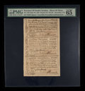Colonial Notes:North Carolina, North Carolina December, 1771 2s6d House; £1; 10s Uncut Sheet ofThree PMG Gem Uncirculated 65 EPQ.. ...