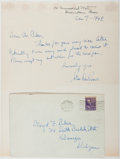 Books:Literature 1900-up, John Dos Passos (1896-1970, American Novelist and Artist).Autograph Letter Signed. Provincetown, Jan 7-1942. Approximately...