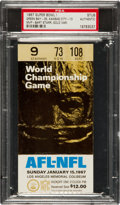 Football Collectibles:Tickets, 1967 Super Bowl I Packers vs. Chiefs Ticket Stub, PSA Authentic. ...