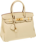 Luxury Accessories:Bags, Hermes 30cm Parchment Togo Leather Birkin Bag with Gold Hardware....