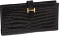 Luxury Accessories:Accessories, Hermes Black Shiny Nilo Crocodile Bearn Bi-fold Wallet with Gold Hardware. ...