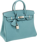 Luxury Accessories:Bags, Hermes 25cm Ciel Clemence Leather Birkin Bag with PalladiumHardware. ...