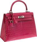 Luxury Accessories:Bags, Hermes 25cm Shiny Fuchsia Nilo Crocodile Kelly Bag with PalladiumHardware. ...