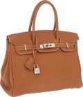 Luxury Accessories:Bags, Hermes 30cm Gold Clemence Leather Birkin Bag with Palladium Hardware. ...