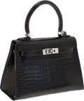 Luxury Accessories:Bags, Hermes 20cm Black Shiny Porosus Crocodile Mini Kelly Bag withPalladium Hardware . ...
