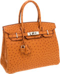 Luxury Accessories:Bags, Hermes 30cm Cognac Ostrich Birkin Bag with Palladium Hardware. ...