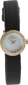 Luxury Accessories:Accessories, Dior 18K Yellow Gold & Diamonds Watch with Black Satin Band....