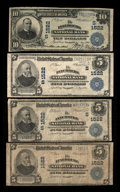 National Bank Notes:Virginia, Lynchburg, VA - $5 1902 Date Back Fr. 591, two $5 1902 Plain BacksFr. 599, and one $10 1902 Date Back Fr. 617 The Lynchbu... (Total:4 notes)