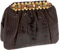 Luxury Accessories:Bags, Judith Leiber Chocolate Shiny Alligator Clutch with MulticolorCabochon Frame Closure and Shoulder Strap. ... (Total: 2 Items)