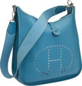 Luxury Accessories:Bags, Hermes Blue Jean Epsom Leather Evelyne Messenger Bag. ...