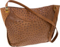 Luxury Accessories:Bags, Judith Leiber Brown Ostrich Hobo with Cat's Eye Gemstone Detail andDouble Messenger Straps. ... (Total: 2 Items)