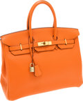 Luxury Accessories:Bags, Hermes 35cm Orange H Clemence Leather Birkin Bag with GoldHardware. ...