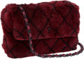 Luxury Accessories:Bags, Chanel Dark Red Fur Single Flap Bag with CC Closure & ChainStrap. ...