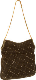 Luxury Accessories:Bags, Judith Leiber Green Suede Hobo Bag with Lizard Trim and GoldCrystal Detail. ... (Total: 2 Items)