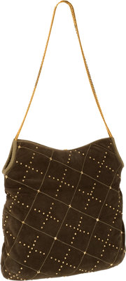 Judith Leiber Green Suede Hobo Bag with Lizard Trim and Gold Crystal Detail