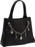 Luxury Accessories:Bags, Kieselstein-Cord Small Black Shiny Alligator Tote with DetachableSterling Silver Charm Chain Bracelet. ...