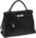 Luxury Accessories:Bags, Hermes 32cm Black Togo Leather Retourne Kelly Bag with PalladiumHardware. ... (Total: 2 Items)