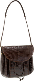 Luxury Accessories:Bags, Judith Leiber Chocolate Shiny Alligator Drawstring Flap Bag. ...(Total: 2 Items)