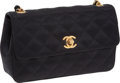 Luxury Accessories:Bags, Chanel Black Satin Mini Single Flap Evening Bag with Gold Hardware....