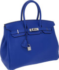 Luxury Accessories:Bags, Hermes 35cm Electric Blue Togo Leather Birkin Bag with PalladiumHardware. ...