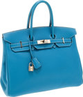 Luxury Accessories:Bags, Hermes 35cm Blue Jean Togo Leather Birkin Bag with Palladium Hardware. ...