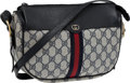 Luxury Accessories:Bags, Gucci Vintage Classic Monogram Shoulder Bag with Signature Red& Blue Stripe. ...