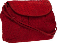 Bottega Veneta Vintage Woven Red Suede Vintage Shoulder Bag