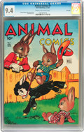 Golden Age (1938-1955):Funny Animal, Animal Comics #7 File Copy (Dell, 1944) CGC NM 9.4 Cream tooff-white pages....