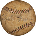 Autographs:Baseballs, 1930 Chicago Cubs Partial Team Signed Baseball with Hack Wilson....