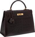 Luxury Accessories:Bags, Hermes 32cm Shiny Chocolate Alligator Rigide Kelly Bag with GoldHardware. ...