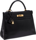 Luxury Accessories:Bags, Hermes 32cm Black Calf Box Leather Retourne Kelly Bag with GoldHardware . ... (Total: 2 Items)