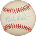 Autographs:Baseballs, 1948 Babe Ruth Single Signed Baseball, PSA/DNA EX-MT+ 6.5....